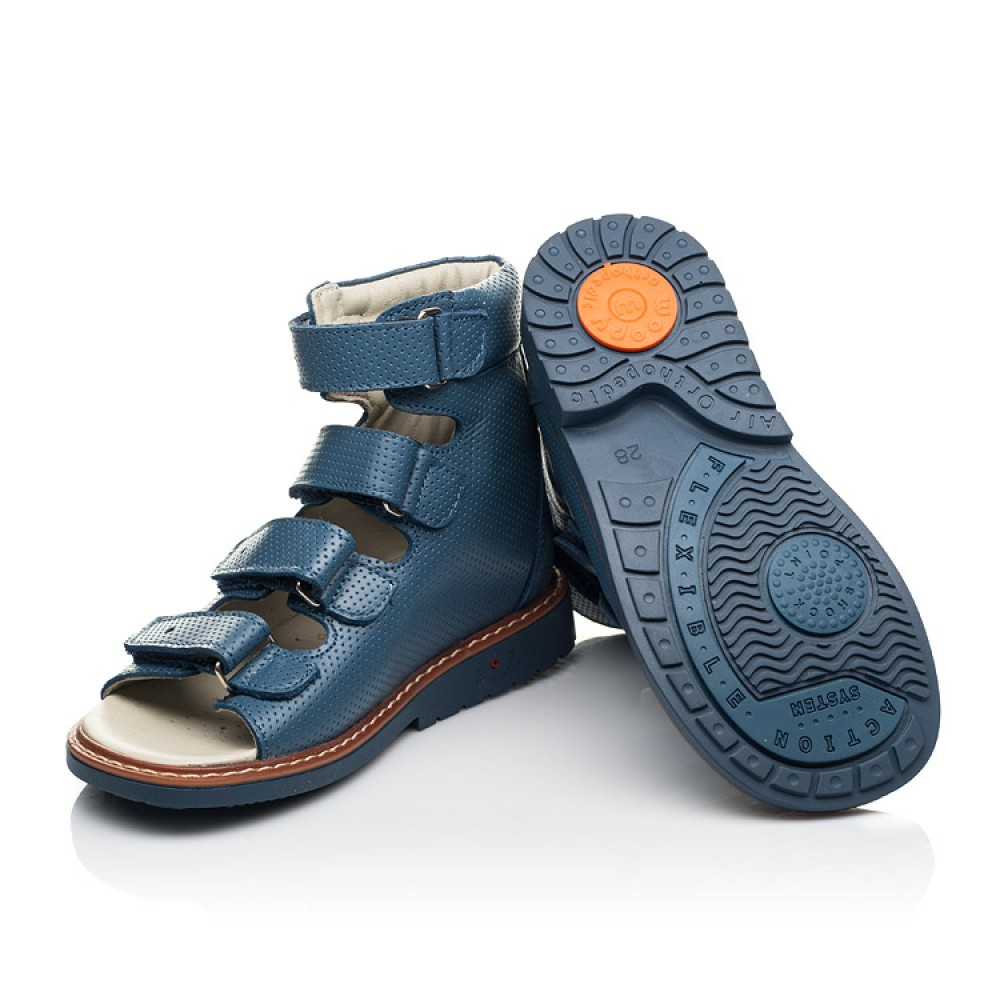Детские ортопедические босоножки (с высоким берцем) Woopy Orthopedic синие для мальчиков натуральная кожа размер 20-33 (5221) Фото 2