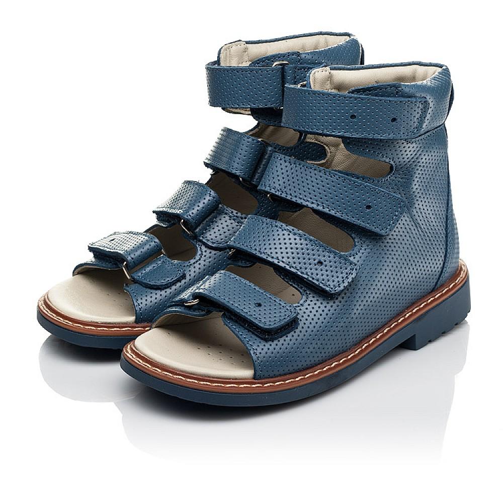 Детские ортопедические босоножки (с высоким берцем) Woopy Orthopedic синие для мальчиков натуральная кожа размер 20-33 (5221) Фото 3