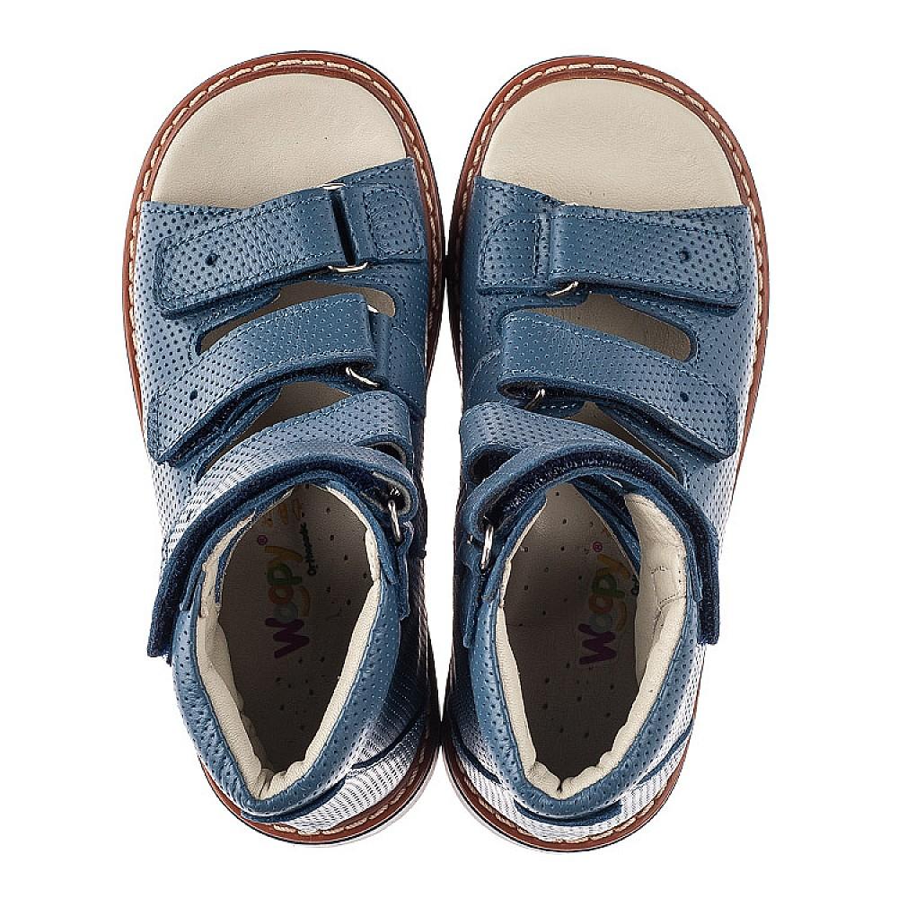 Детские ортопедические босоножки (с высоким берцем) Woopy Orthopedic синие для мальчиков натуральная кожа размер 20-33 (5221) Фото 5
