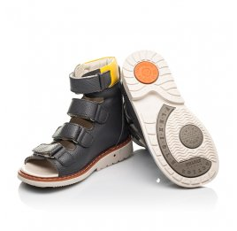 Детские ортопедические босоножки (с высоким берцем) Woopy Orthopedic серые для мальчиков натуральная кожа размер 22-32 (5222) Фото 2