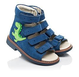 Детские ортопедические босоножки (с высоким берцем) Woopy Orthopedic синие для мальчиков натуральный нубук размер 18-27 (5223) Фото 1