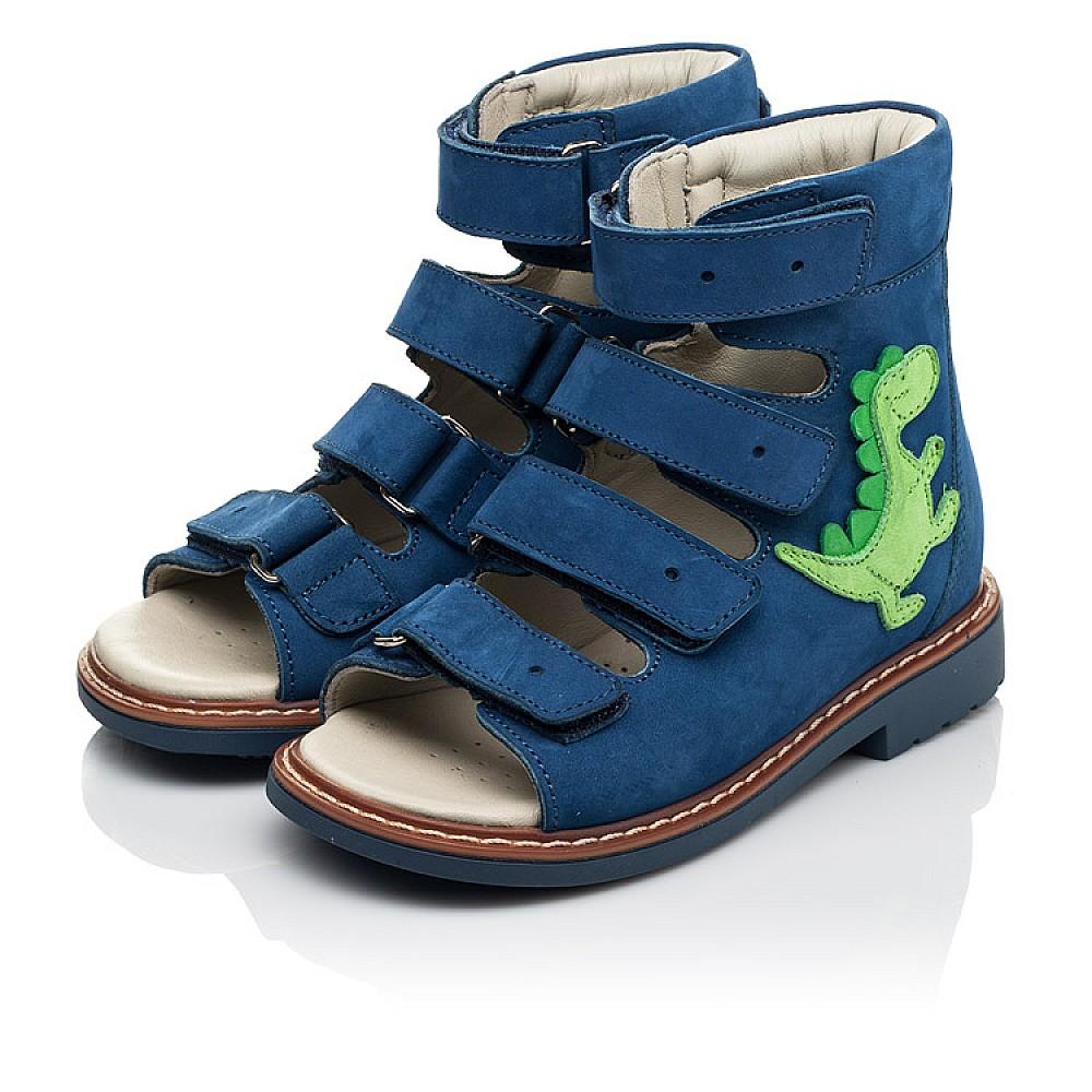 Детские ортопедические босоножки (с высоким берцем) Woopy Orthopedic синие для мальчиков натуральный нубук размер 18-29 (5223) Фото 3