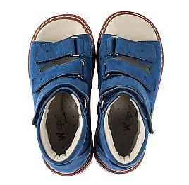 Детские ортопедические босоножки (с высоким берцем) Woopy Orthopedic синие для мальчиков натуральный нубук размер 18-29 (5223) Фото 5