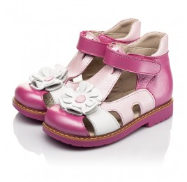Детские закрытые босоножки Woopy Orthopedic розовые для девочек натуральная кожа размер 21-26 (5226) Фото 3