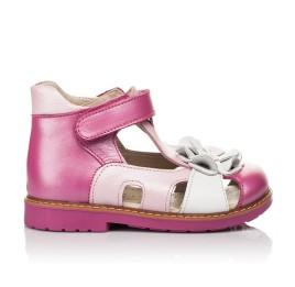 Детские закрытые босоножки Woopy Orthopedic розовые для девочек натуральная кожа размер 21-27 (5226) Фото 4