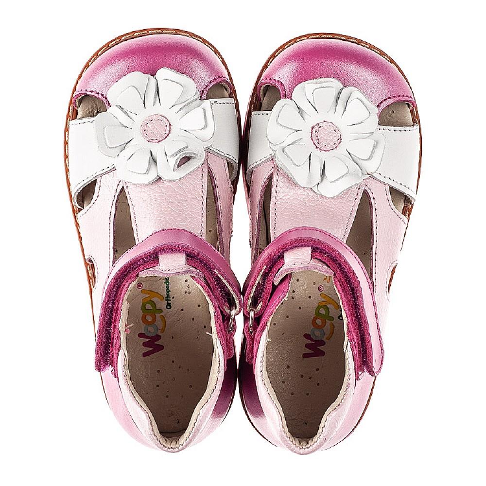 Детские закрытые босоножки Woopy Orthopedic розовые для девочек натуральная кожа размер 21-27 (5226) Фото 5