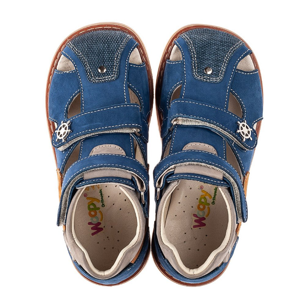 Детские закрытые босоножки Woopy Orthopedic синие, коричневые для мальчиков натуральный нубук размер 23-30 (5230) Фото 5