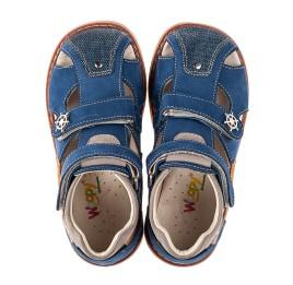 Детские закрытые босоножки Woopy Orthopedic синие, коричневые для мальчиков натуральный нубук размер 23-29 (5230) Фото 5