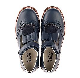 Детские туфли Woopy Fashion синие для девочек натуральная кожа размер 34-39 (7003) Фото 5