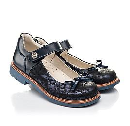 Детские туфли Woopy Orthopedic темно-синие для девочек натуральные кожа и нубук размер 25-36 (7009) Фото 1