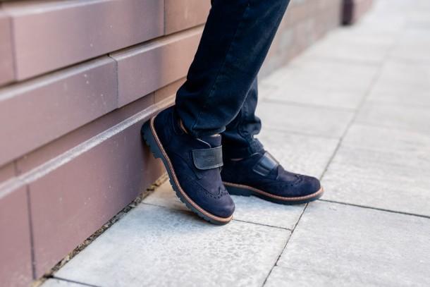 Мальчик обут в детские туфли Woopy Fashion синие (7010) Фото 2