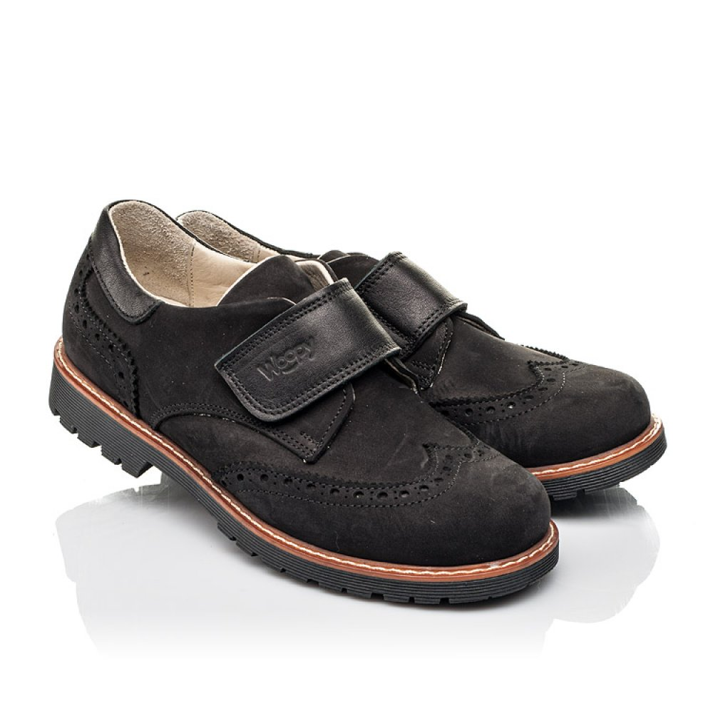 Детские туфли Woopy Fashion черные для мальчиков натуральный нубук размер 31-38 (7012) Фото 1