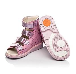 Детские ортопедические босоножки (с высоким берцем) Woopy Orthopedic розовые для девочек натуральный нубук размер 25-33 (7019) Фото 2