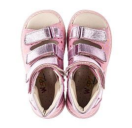 Детские ортопедические босоножки (с высоким берцем) Woopy Orthopedic розовые для девочек натуральный нубук размер 25-33 (7019) Фото 5