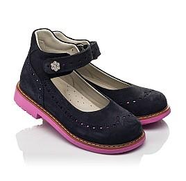 Детские туфли Woopy Orthopedic темно-синие для девочек натуральный нубук размер 28-36 (7020) Фото 1