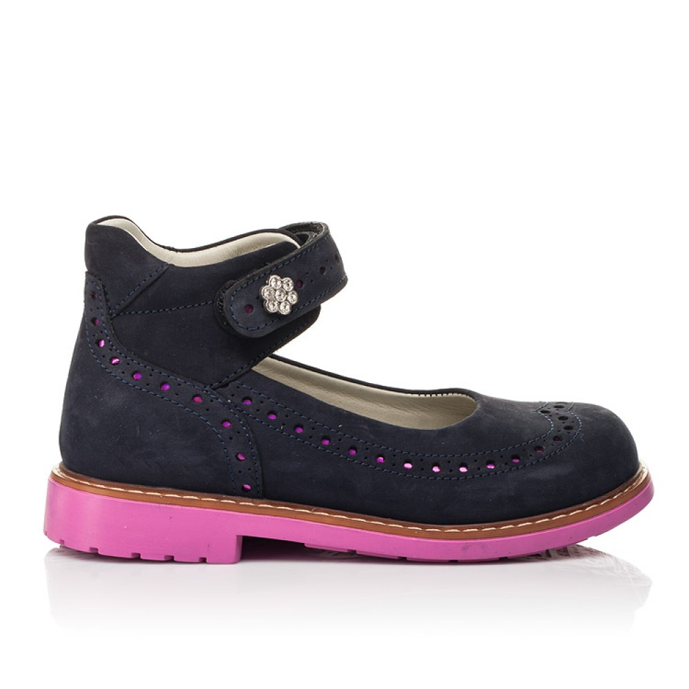 Детские туфли Woopy Orthopedic темно-синие для девочек натуральный нубук размер 28-36 (7020) Фото 4