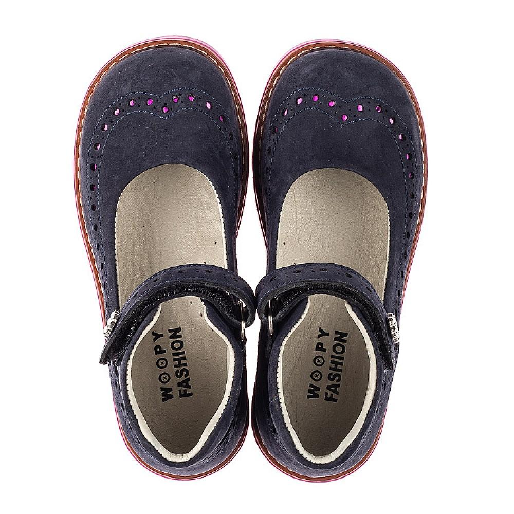Детские туфли Woopy Orthopedic темно-синие для девочек натуральный нубук размер 28-36 (7020) Фото 5