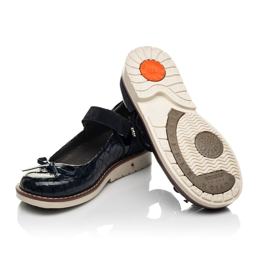 Детские туфли Woopy Orthopedic синие для девочек натуральная лаковая кожа размер 28-36 (7024) Фото 2
