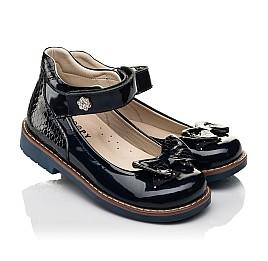 Детские туфли Woopy Orthopedic темно-синие для девочек натуральная лаковая кожа размер 28-36 (7025) Фото 1