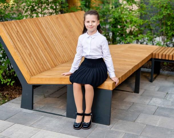 Девочка обута в детские туфли Woopy Orthopedic темно-синие (7025) Фото 2