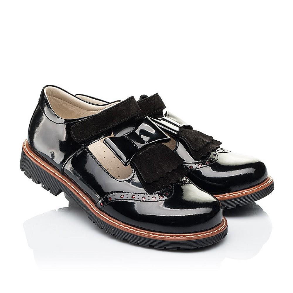 Детские туфли Woopy Orthopedic черные для девочек натуральная лаковая кожа размер 31-39 (7026) Фото 1