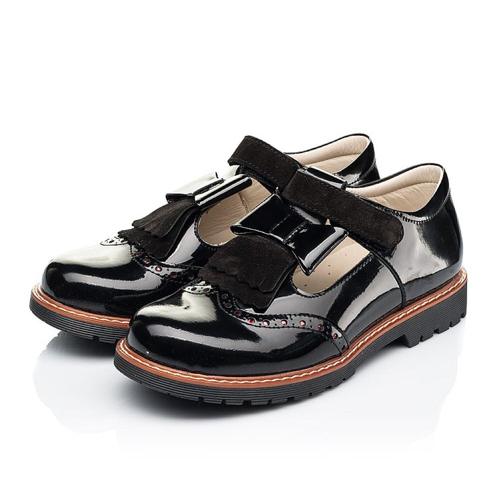 Детские туфли Woopy Orthopedic черные для девочек натуральная лаковая кожа размер 31-39 (7026) Фото 3