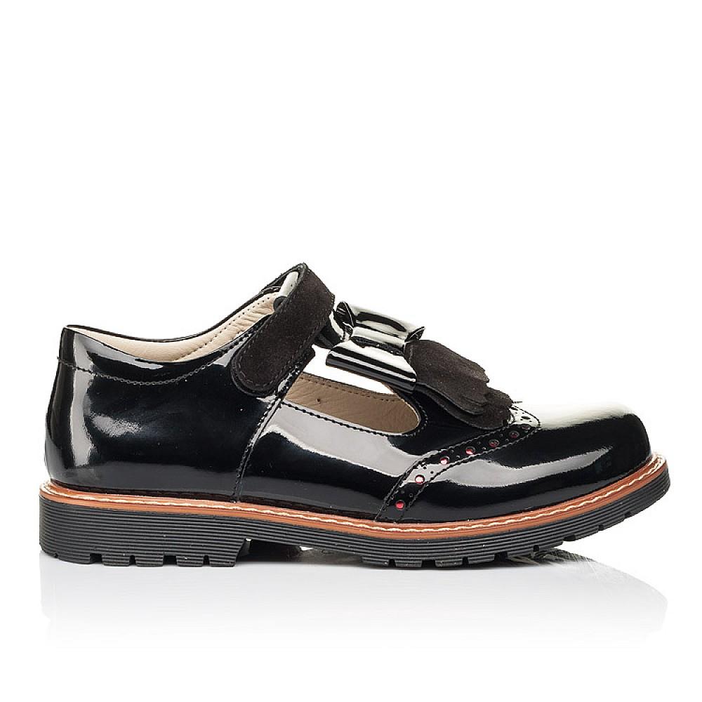 Детские туфли Woopy Orthopedic черные для девочек натуральная лаковая кожа размер 31-39 (7026) Фото 4