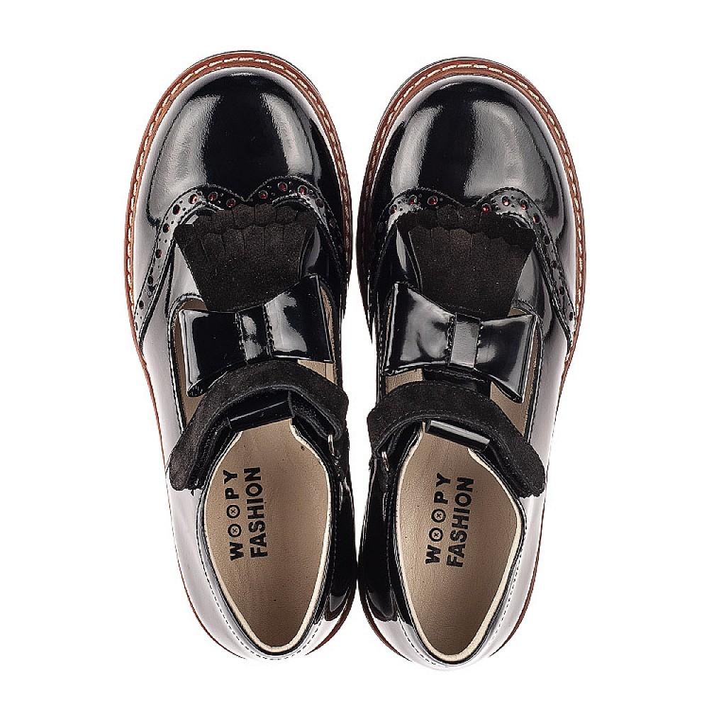 Детские туфли Woopy Orthopedic черные для девочек натуральная лаковая кожа размер 31-39 (7026) Фото 5