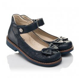 Детские туфли Woopy Orthopedic синие для девочек натуральная кожа размер 28-36 (7027) Фото 1