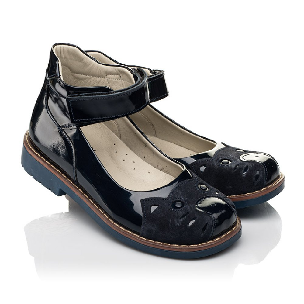 Детские туфли Woopy Orthopedic темно-синие для девочек натуральная лаковая кожа размер 29-36 (7028) Фото 1