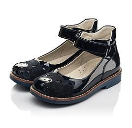 Детские туфли Woopy Orthopedic темно-синие для девочек натуральная лаковая кожа размер 29-36 (7028) Фото 3