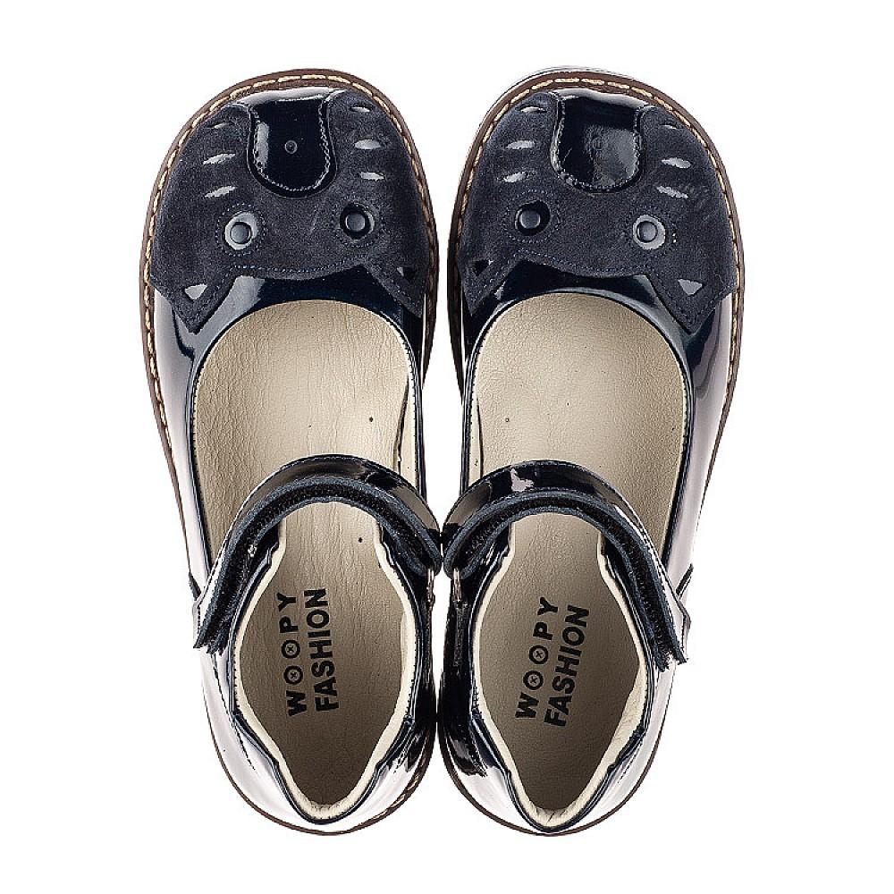 Детские туфли Woopy Orthopedic темно-синие для девочек натуральная лаковая кожа размер 29-36 (7028) Фото 5