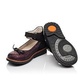 Детские туфли Woopy Orthopedic бордовые для девочек натуральный нубук размер 28-33 (7029) Фото 2