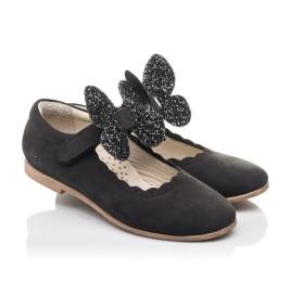 Детские туфли Woopy Orthopedic черные для девочек натуральный нубук размер 28-35 (7030) Фото 1