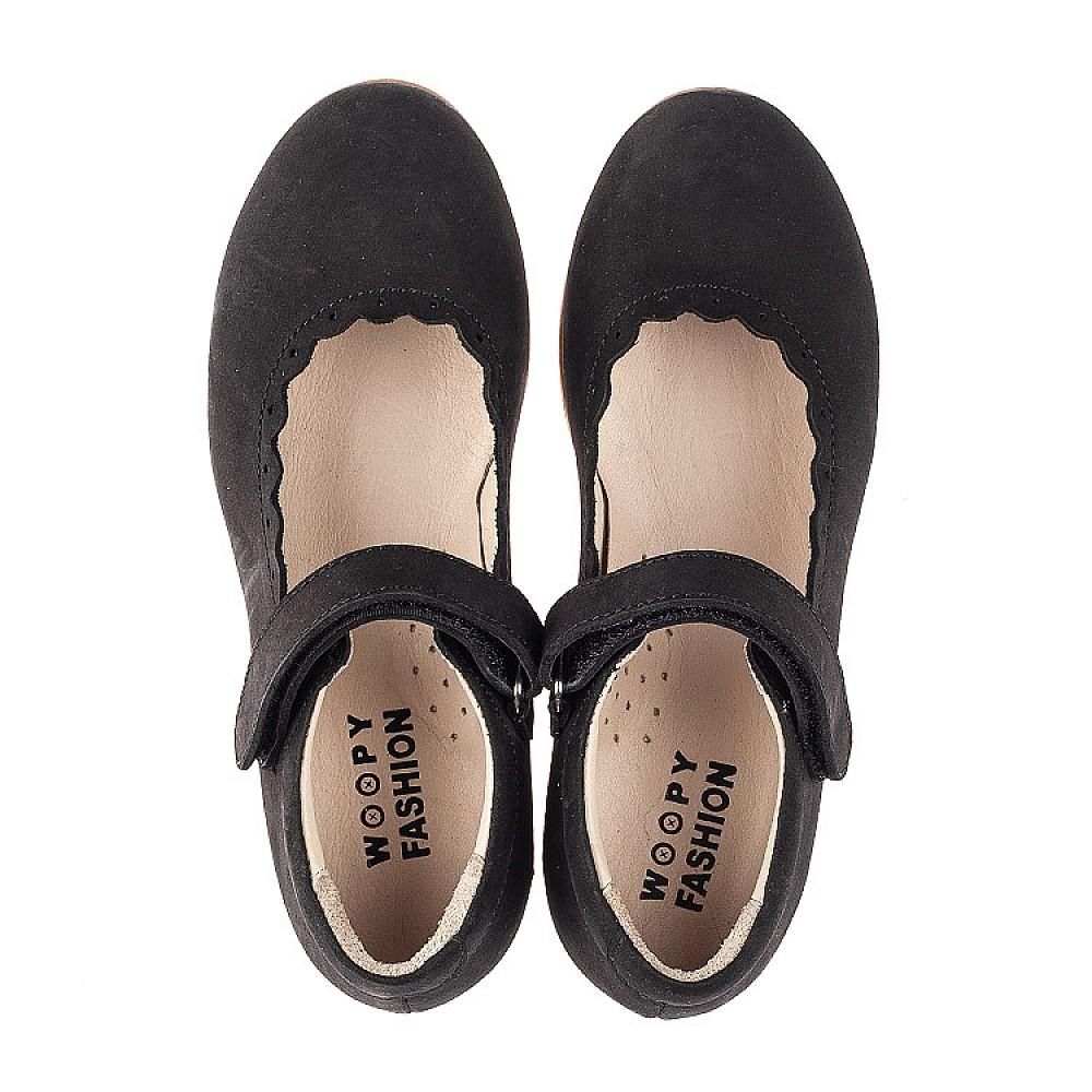 Детские туфли Woopy Orthopedic черные для девочек натуральный нубук размер 26-36 (7030) Фото 5