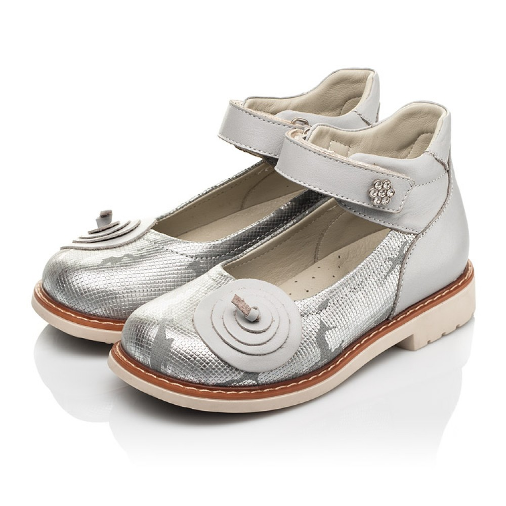 Детские туфли Woopy Orthopedic серые для девочек натуральная кожа размер 24-34 (7031) Фото 3