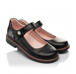 Детские туфли Woopy Orthopedic черные для девочек натуральная кожа размер 29-35 (7032) Фото 1