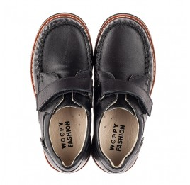Детские туфли Woopy Orthopedic черные для мальчиков натуральная кожа размер 24-34 (7035) Фото 5