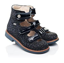 Детские ортопедические туфли (с высоким берцем) Woopy Orthopedic синие для девочек натуральные нубук и лаковая кожа размер 26-35 (7039) Фото 1