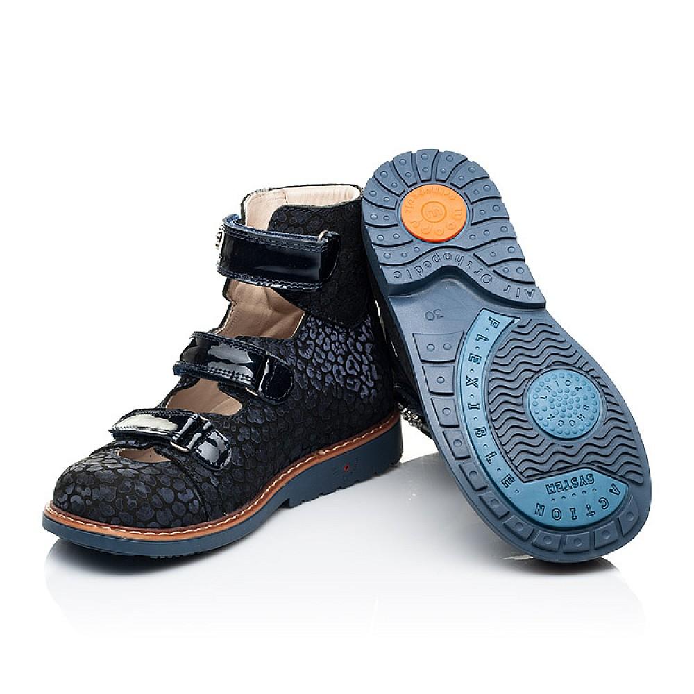 Детские ортопедические туфли (с высоким берцем) Woopy Orthopedic синие для девочек натуральные нубук и лаковая кожа размер 26-36 (7039) Фото 2