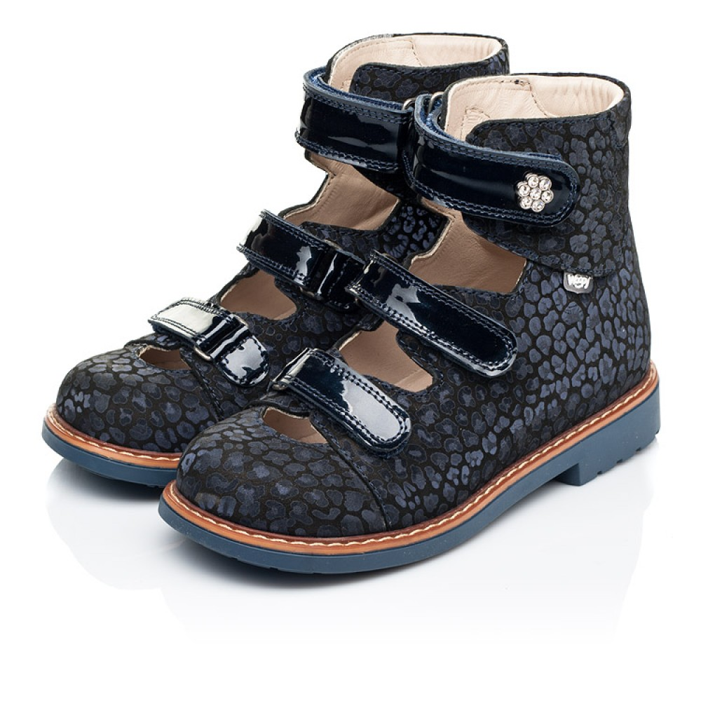 Детские ортопедические туфли (с высоким берцем) Woopy Orthopedic синие для девочек натуральные нубук и лаковая кожа размер 26-36 (7039) Фото 3