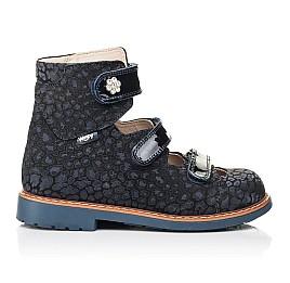 Детские ортопедические туфли (с высоким берцем) Woopy Orthopedic синие для девочек натуральные нубук и лаковая кожа размер 26-35 (7039) Фото 4