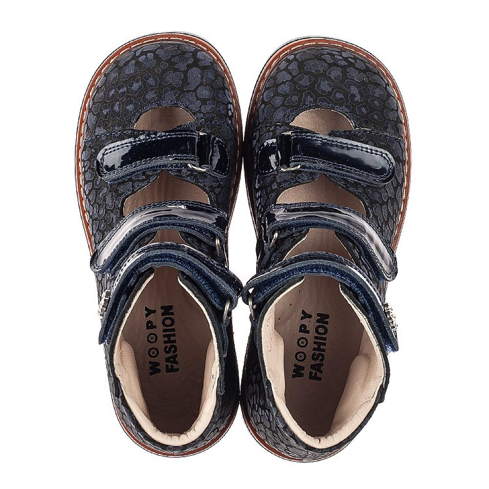 Детские ортопедические туфли (с высоким берцем) Woopy Orthopedic синие для девочек натуральные нубук и лаковая кожа размер 26-36 (7039) Фото 5
