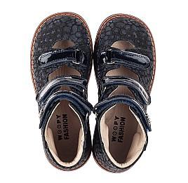 Детские ортопедические туфли (с высоким берцем) Woopy Orthopedic синие для девочек натуральные нубук и лаковая кожа размер 26-35 (7039) Фото 5