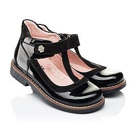 Детские туфли Woopy Orthopedic черные для девочек натуральная лаковая кожа размер 26-33 (7044) Фото 1