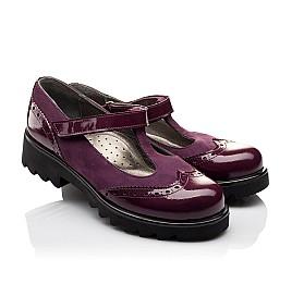 Детские туфли Woopy Fashion фиолетовые для девочек натуральная лаковая кожа и нубук размер 35-39 (7045) Фото 1