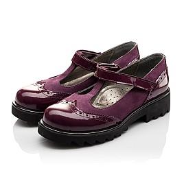 Детские туфли Woopy Fashion фиолетовые для девочек натуральная лаковая кожа и нубук размер 35-39 (7045) Фото 3