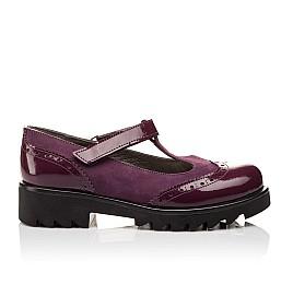 Детские туфли Woopy Fashion фиолетовые для девочек натуральная лаковая кожа и нубук размер 35-39 (7045) Фото 4