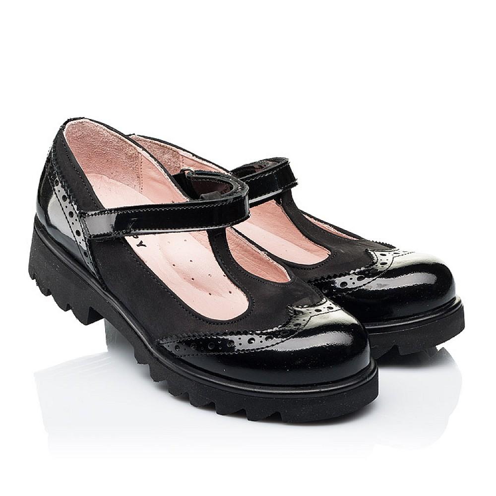 Детские туфли Woopy Fashion черные для девочек натуральная лаковая кожа и нубук размер 33-39 (7046) Фото 1