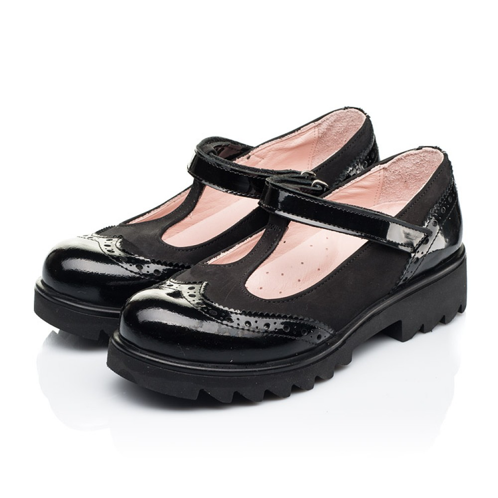 Детские туфли Woopy Fashion черные для девочек натуральная лаковая кожа и нубук размер 33-39 (7046) Фото 3